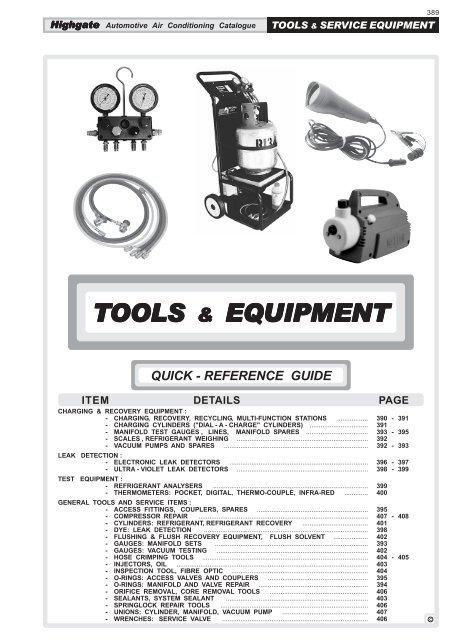 Tools equipment - Highgate Car Air
