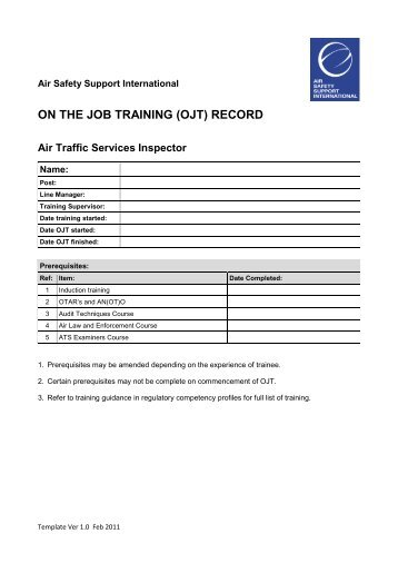 flight operations inspector ojt checklist air safety support