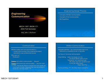 Engineering Communication - Mechanical Engineering