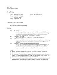 Dr. Jeff Altig Laboratory Manual & Schedule Grading