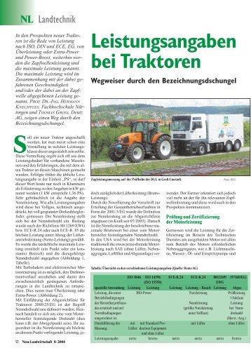Leistungsangaben bei Traktoren