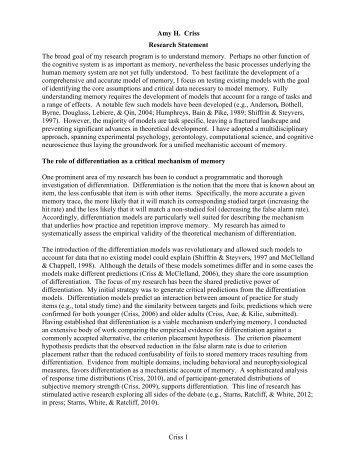 E Wade  Research Statement My Research Interests Focus On The