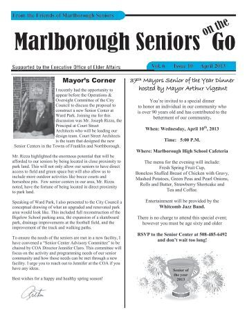 April 2013 Newsletter - The City of Marlborough