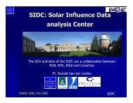 SIDC: Solar Influence Data analysis Center - ESA Space Weather ...