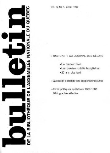 Vol. 13 No 1, janvier - Bibliothèque - Assemblée nationale du Québec