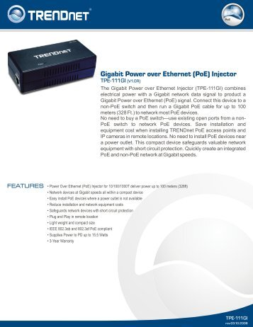Gigabit Power over Ethernet (PoE) Injector - TRENDnet