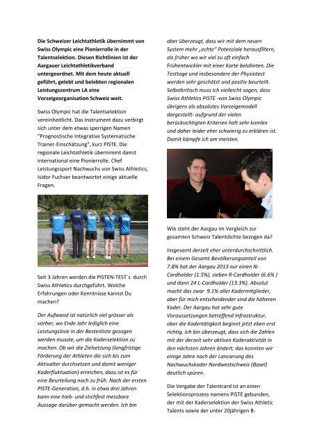 Interview mit Isidor Fuchser, Chef Leistungssport Nachwuchs ... - ALV
