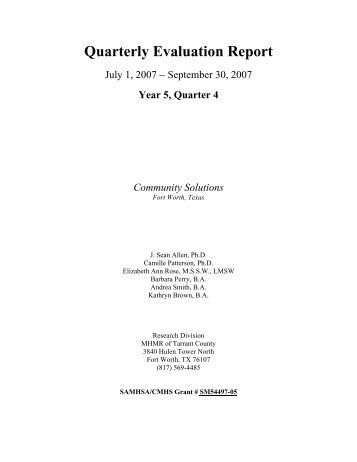 Wraparound Evaluation, July 1-September 30, 2007 - Mental Health ...