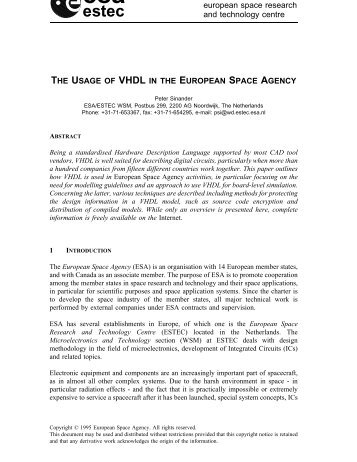 estec THE USAGE OF VHDL IN THE EUROPEAN SPACE AGENCY