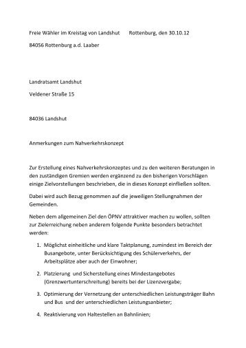 Freie Wähler im Kreistag von Landshut Rottenburg, den 30.10.12 ...