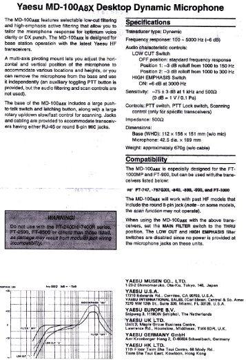 MD-100 Manual - Fox Tango Yaesu Manuals