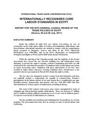 internationally recognised core labour standards in egypt - ITUC