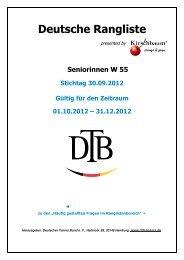 Deutsche Rangliste - Deutscher Tennis Bund