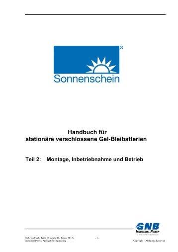 Gel-Handbuch, Teil 2, Ausgabe 17, Jan. 2012 - Exide Technologies