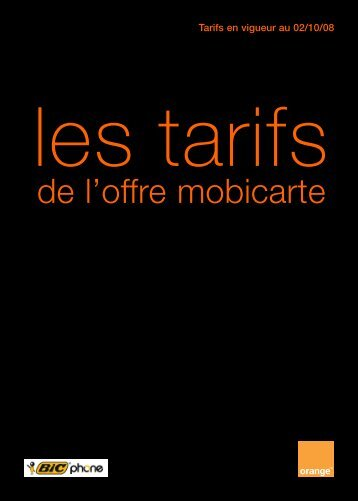 Tarifs en vigueur au 02/10/08 - Orange mobile