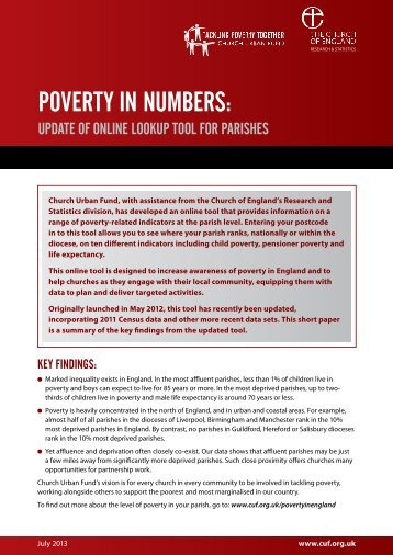 POVERTY IN NUMBERS: - The Lancaster Diocese Faith & Justice C
