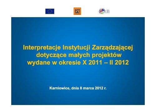 3 Interpretacje limity szkolenia itd 8 marca 2012 Karniowice