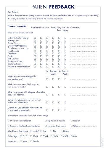 Feedback Form   Sydney Adventist Hospital