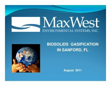 BIOSOLIDS GASIFICATION IN SANFORD, FL