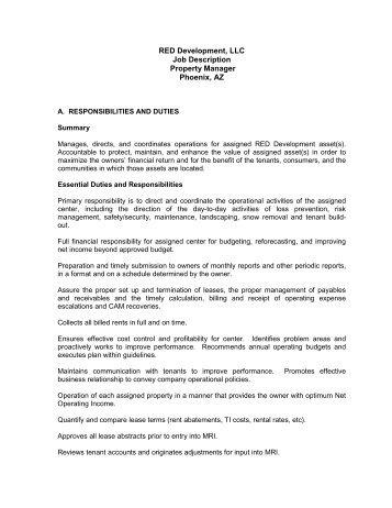 General Manager Job Description   Red Development LLC
