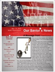 Weekly Announcements 5-21-13 Memorial Day - Our Savior's ...