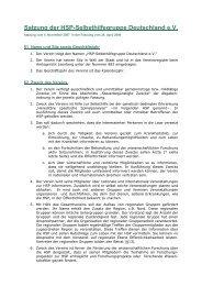 Satzung (PDF) - HSP-Selbsthilfegruppe Deutschland EV