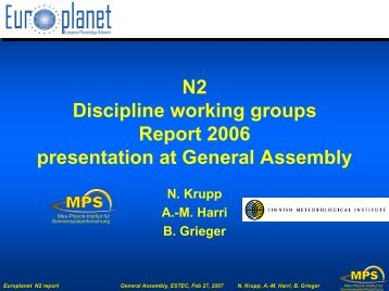 Europlanet General Assembly with N2 presentation, Berlin, Germany