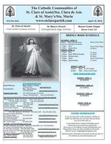 April 15, 2012 - St. Clare of Assisi Parish