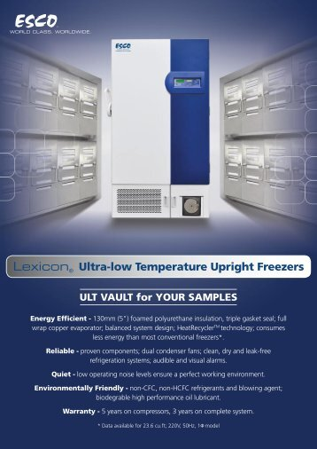 Lexicon® Ultra-low Temperature Upright Freezers - Esco