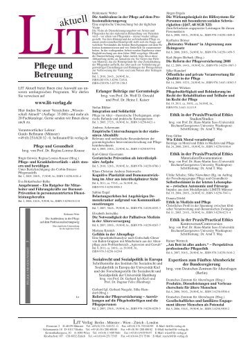 Pflege und Betreuung - LIT Verlag