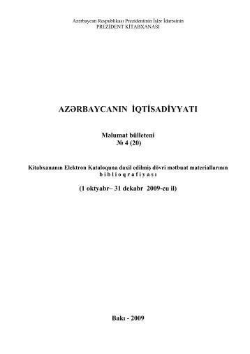 AZƏRBAYCANIN İQTİSADİYYATI Məlumat bülleteni № 4 (20)