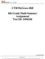 CTB/McGraw-Hill 8th Grade Math Summer Assignment ... - Is34.org