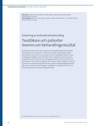Evaluering av oralmedicinsk behandling - Tandläkartidningen