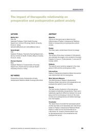 The impact of therapeutic relationship on preoperative and ...