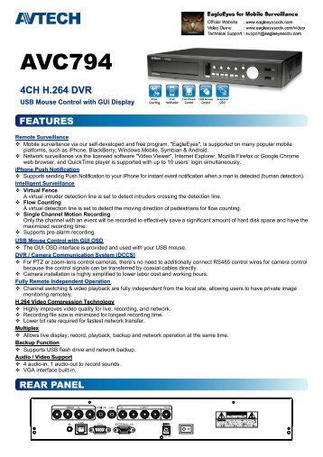 Product catalogue for AVC794 Digital Video Recorder
