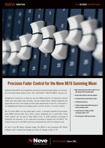 Precision Fader Control for the Neve 8816 ... - Ams-neve.info