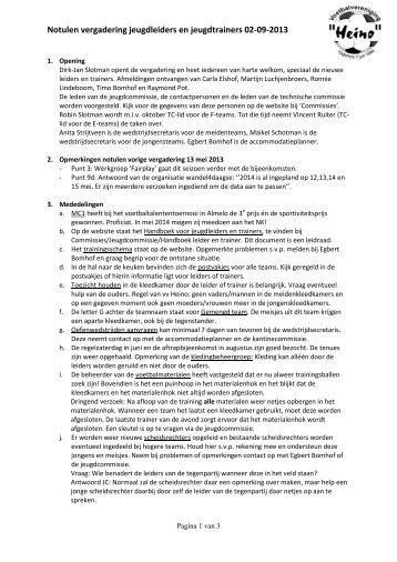 Notulen vergadering jeugdleiders en jeugdtrainers 02-09 ... - Heino