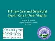 Primary Care and Behavioral Health Care in Rural Virginia
