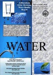 2009 Water Quality Report - Town of Ashburnham, Massachusetts