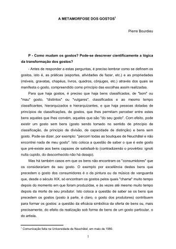 A Metamorfose dos Gostos _Pierre Bourdieu - FESP