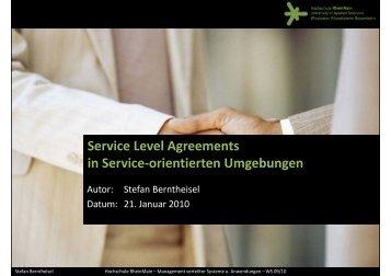 Service Level Agreements in Service-orientierten Umgebungen