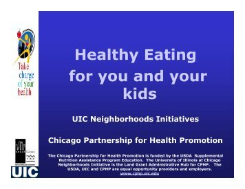 Healthy Eating for you and your kids UIC Neighborhoods Initiatives ...