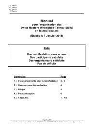 Manuel pour l'organisation des Swiss Masters Wheelchair-Tennis