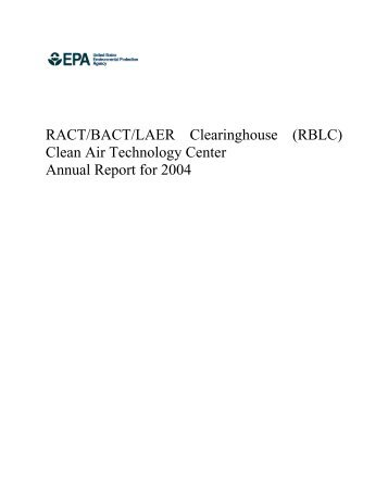 RACT/BACT/LAER Clearinghouse (RBLC) - US Environmental ...