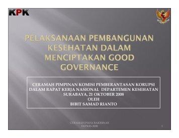 ceramah pimpinan komisi pemberantasan korupsi dalam rapat