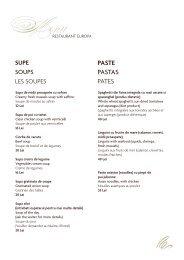 Meniu a la carte - Ana Hotels