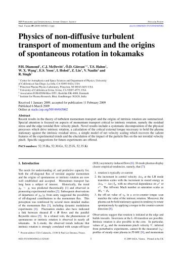 Physics of non-diffusive turbulent transport of momentum and the ...