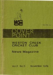 WESTON CREEK CRICKET CLUB News Magazine