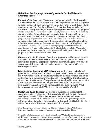 Thesis/Dissertation Proposal Guidelines - University Graduate School
