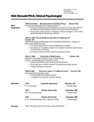 Kirk Strosahl PH.D, Clinical Psychologist - Virginia's State Rural ...